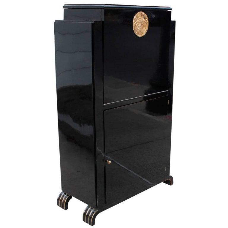 Belgian Art Deco Period Ebonized Bar Cabinet