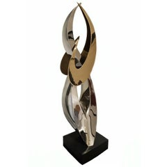 Abstract Stainless Steel and Bronze Sculpture by Artist Russell Jacques
