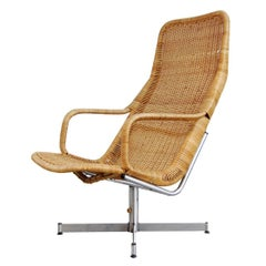 Dirk Van Sliedregt Rattan Lounge Chair for Gebr. Jonkers, Netherlands
