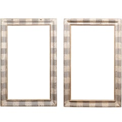 Italian Large Scale Grey and White Painted Frame with Gilt Accents - 1 Availabl
