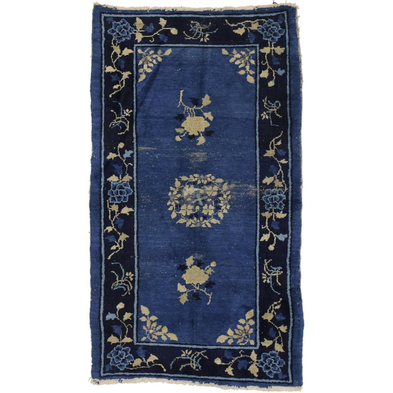 Early 20th Century Antique Blue Chinese Art Deco Rug