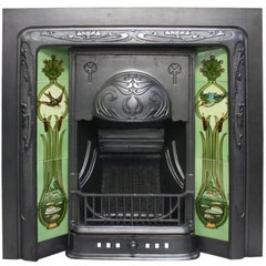 Antique Edwardian Art Nouveau Cast Iron and Tiled Grate