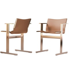 Modern Contemporary Dining / Office Chair Leather and Brass, New Bauhaus Design