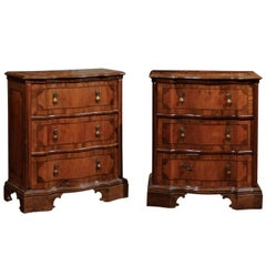 Pair of Italian Petite Walnut Inlaid Commodes with Serpentine Front, circa 1890