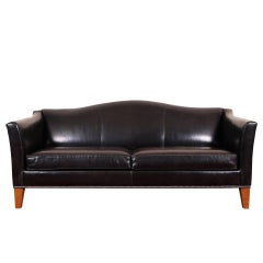 Camel Back Black Leather Sofa