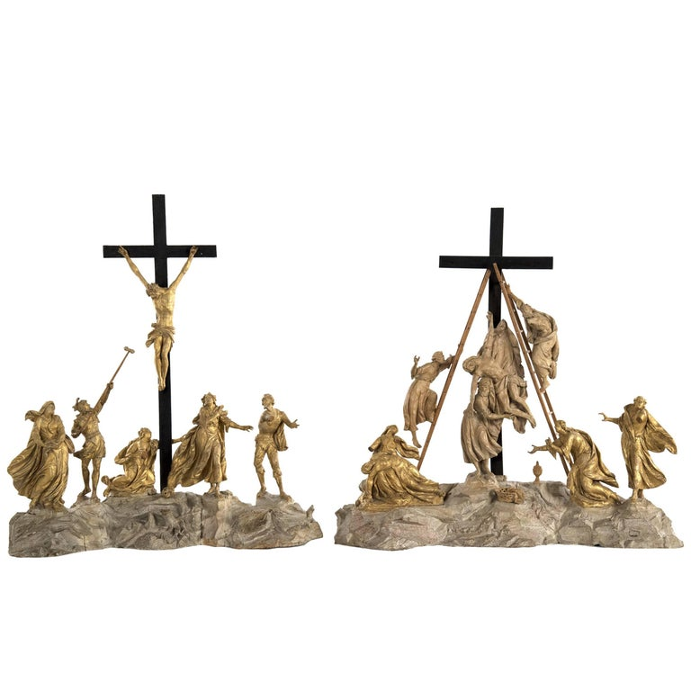 Set of Wood and Gold Leaf Crucifixion Sculptures For Sale