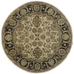 Round Vintage Indian Rug with Traditional Style