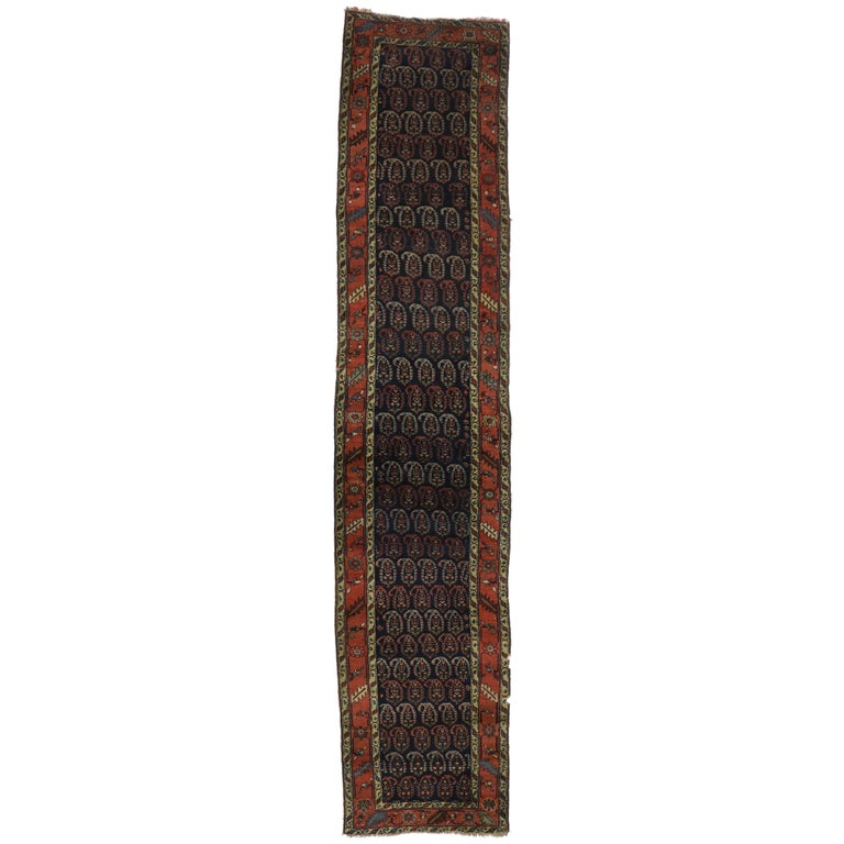 Antique Persian Bijar Runner with Boteh Design and Modern Victorian Style For Sale