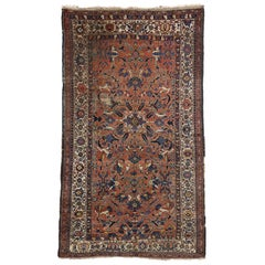 Distressed Antique Persian Bijar Rug with Modern Rustic Style