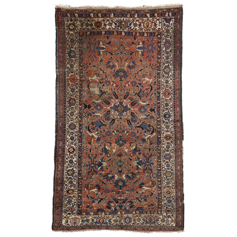 Modern Rugs Vintage: Distressed Antique Persian Bijar Rug With Modern