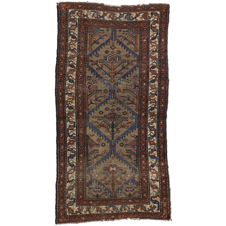 Distressed Antique Persian Malayer Rug with Modern Industrial Style