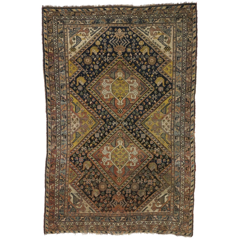 Antique Shiraz Persian Rug with Modern Tribal Style