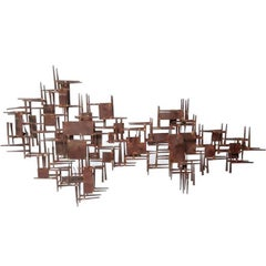 Mid-20th Century Brutalist Geometric Rusty Metal Wall Sculpture