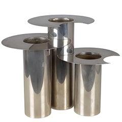 Italian Nickel-Plated Decorative 1970s Vases, Set of Three
