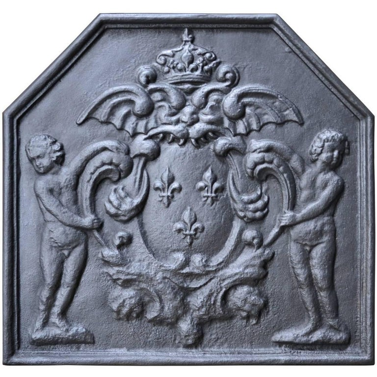 French Louis the 14th Style Cast Iron Fireback, 20th Century