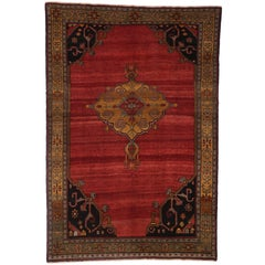 Vintage Turkish Red Oushak Rug with Modern Style