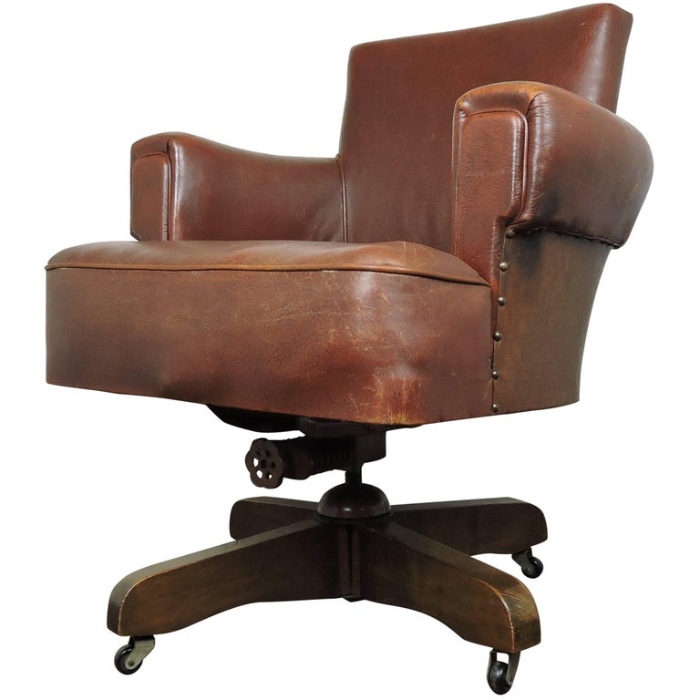 1920s hillcrest antique whisky brown leather captains chair at 1stdibs