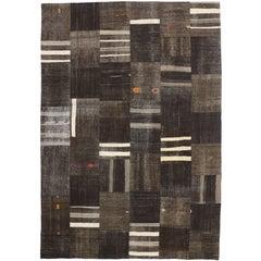 Vintage Turkish Patchwork Kilim Rug with Minimalist Style, Flat-Weave Kilim Rug