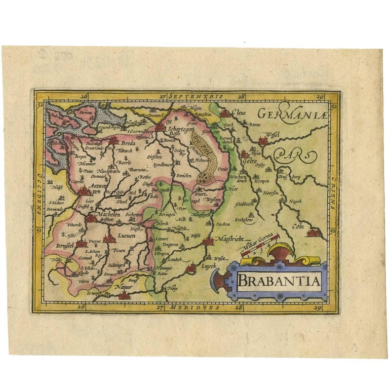 Antique Map of Brabant 'The Netherlands' by J. Hondius, 1616 For Sale