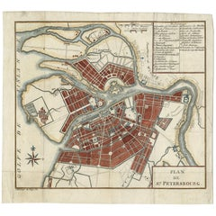 Antique Town Plan of St. Petersburg 'Russia' by J.J. Clausner, circa 1785