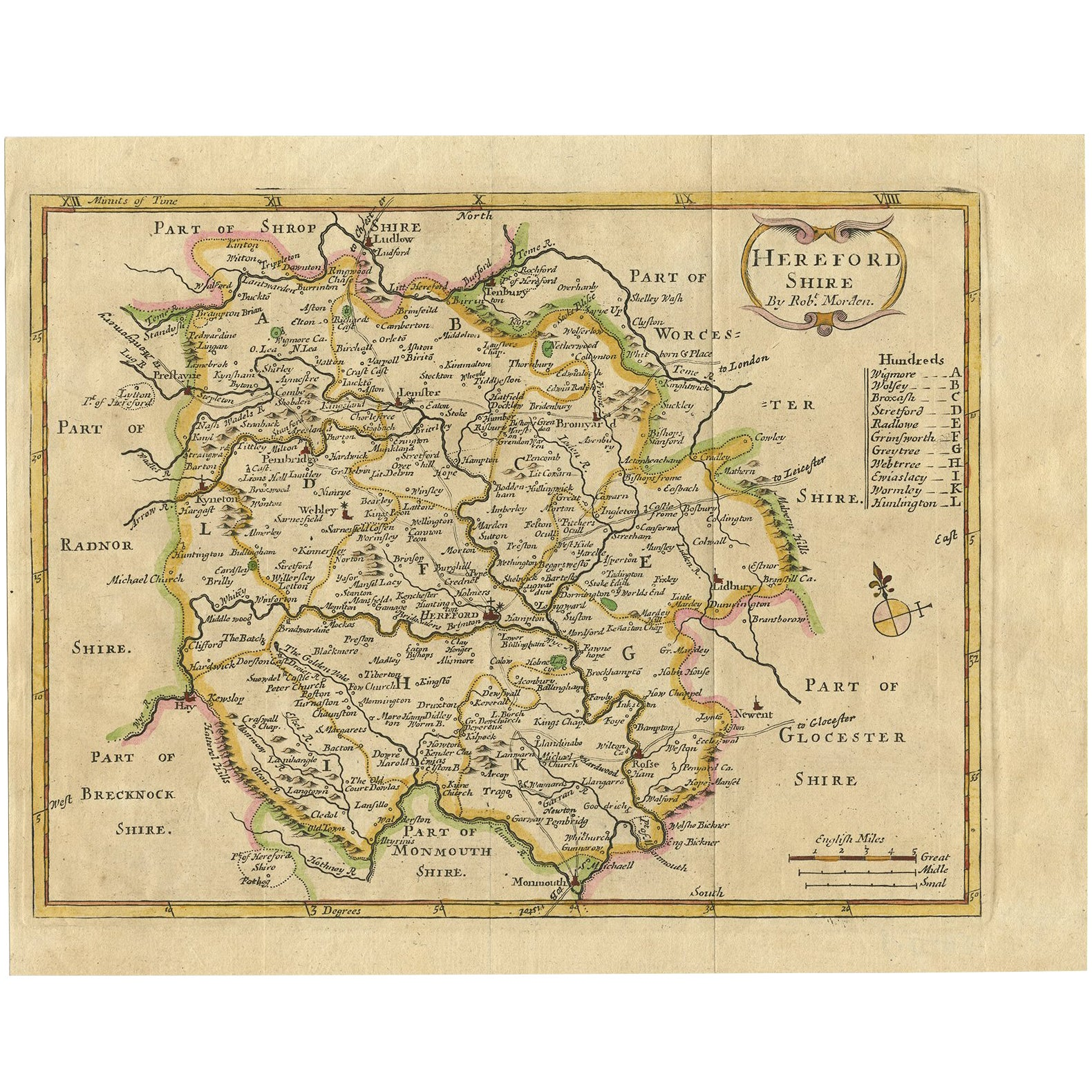 Antique Map of Herefordshire 'England' by R. Morden, 1708