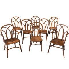 Set of Eight 'Six Plus Two' Ash, Elm and Beech Gothic Windsor Chairs