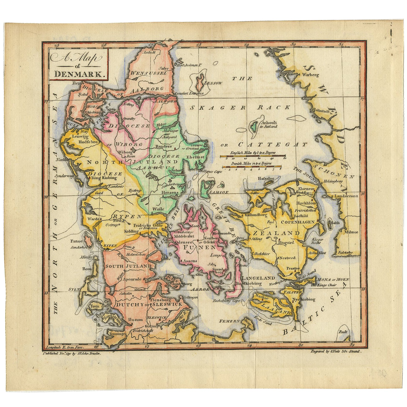Antique Map of Denmark by S. Neele, 1790