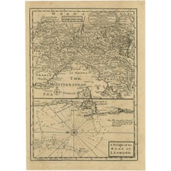 Antique Map of Northern Italy and Livorno by E. Bowen, 1747