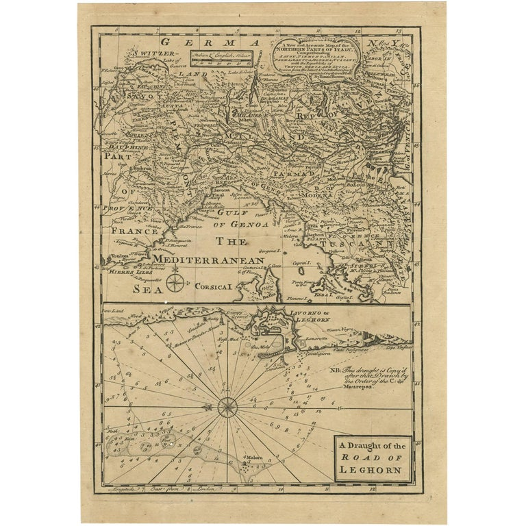 Antique Map Of Northern Italy And Livorno By E Bowen 1747