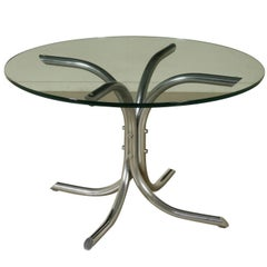 Medusa Table Tetrarch Production Brushed Steel Crystal Top Vintage, Italy, 1970s