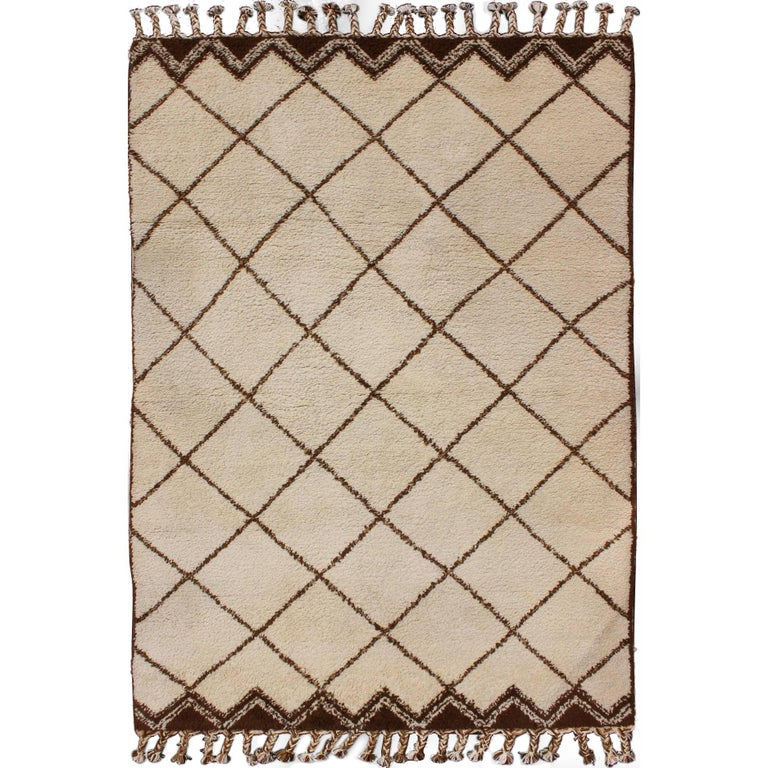 Tribal Vintage Moroccan Rug with Ivory and Brown Diamond Shapes For Sale