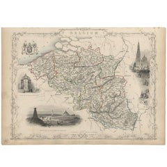 Antique Map of Belgium by J. Tallis, circa 1851