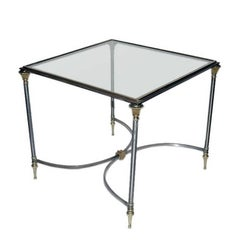 Square Polished Steel and Glass Maison Jansen Coffee Table