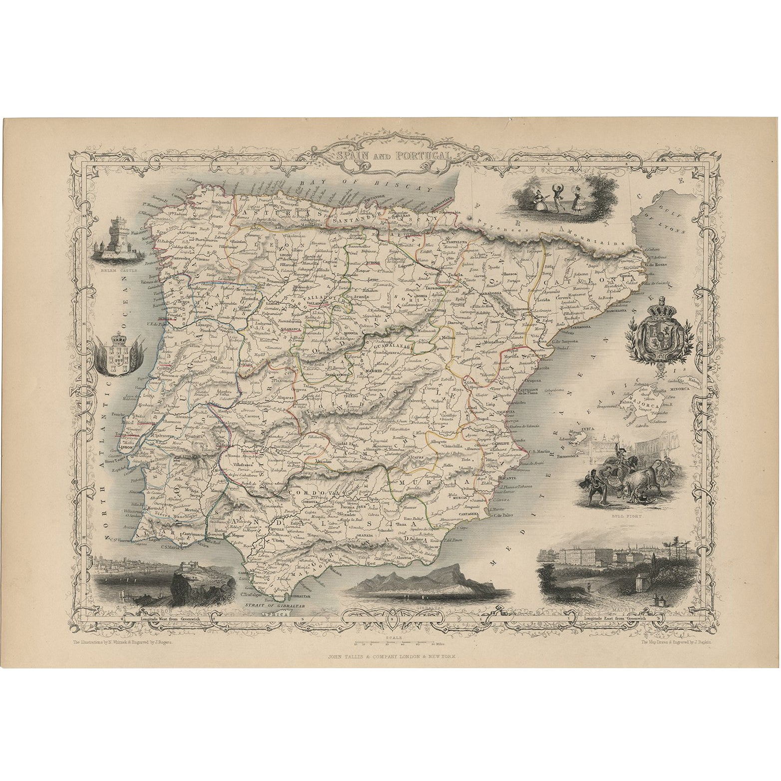 Antique Map of Spain and Portugal by J. Tallis, circa 1851