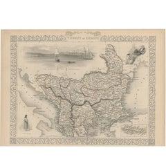Antique Map of Turkey in Europe by J. Tallis, circa 1851