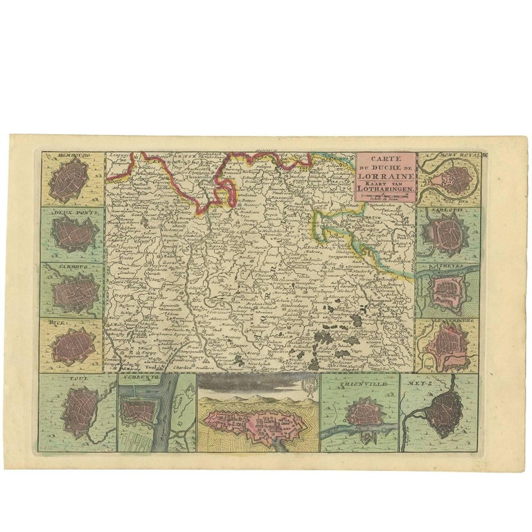 Antique Map of the Lorraine Region 'France' by E. J. Ratelband, 1735