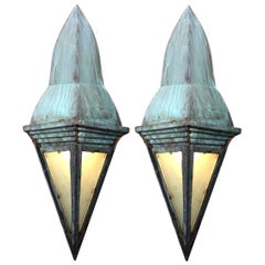 Odd Pair of Arts & Crafts Copper Sconces