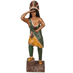 Carved and Polychromed Wood Cigar Store Indian