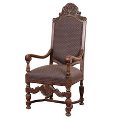 Elaborately Carved Oak Hall Chair