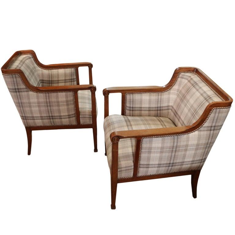 Pair of Vintage Belgian Art Deco Armchairs
