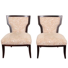 Pair of Zebra Print Lounge Chairs