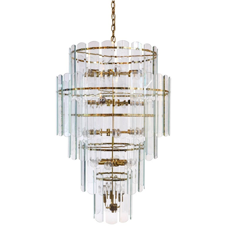 Tall 1970s Brass and Glass Chandelier