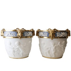 Large Pair of Sevres French Porcelain Cache Pots