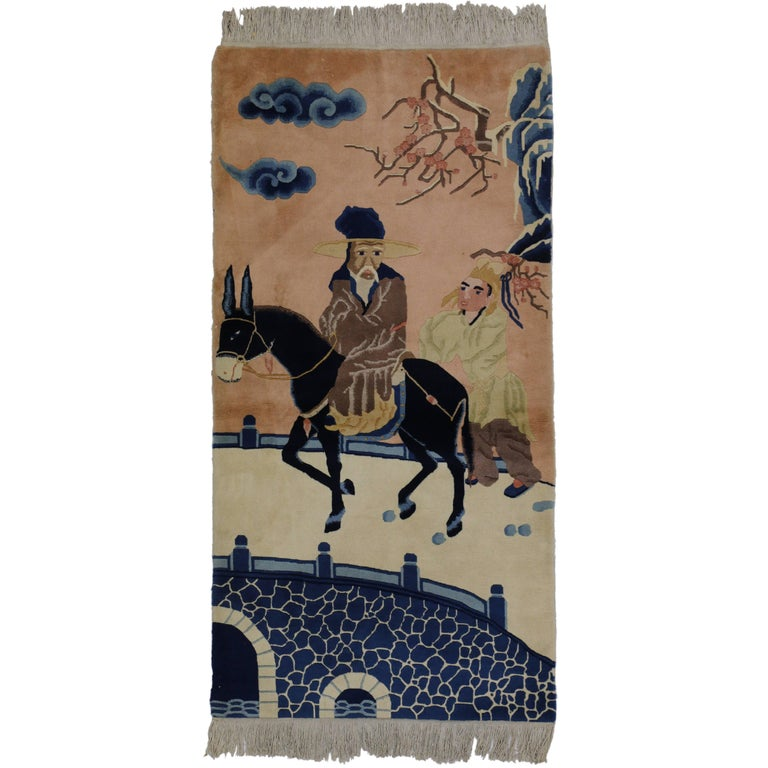 Antique Chinese Art Deco Rug with Horse, Maximalism Tapestry