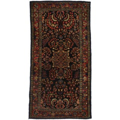 Antique Persian Sarouk Accent Rug with Luxe Jacobean Style, Entry or Foyer Rug