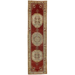Distressed Vintage Turkish Oushak Runner with Romantic French Country Style