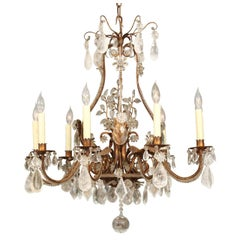 Baguès Style Gilt Metal and Rock Crystal Nine-Light Chandelier