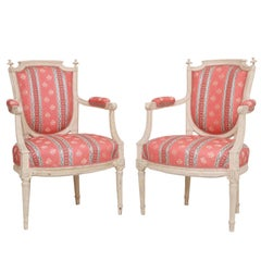 Pair of Napoleon III Carved and Paint Decorated Fauteuils