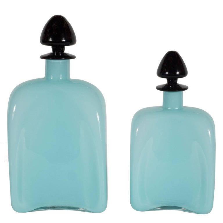 Carlo Moretti Murano Turquoise Milk Glass Decanters with Black Spade Tops