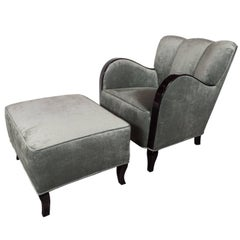 MS Stockholm Ocean Liner Art Deco Club Chair and Ottoman in Ebonized Walnut